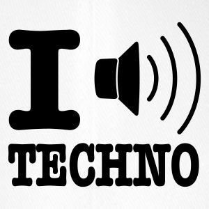 Hvit I love techno / I speaker techno Caps & luer - Flexfit baseballcap