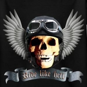 Black biker_skull_a Kids' Shirts - Teenage T-shirt