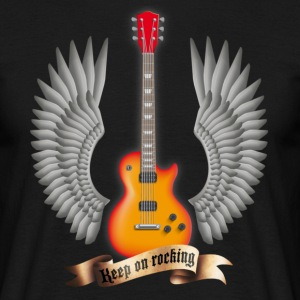 Black guitars_and_wings_red Men's T-Shirts - Men's T-Shirt