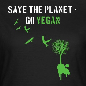 Schwarz Save the planet - Go Vegan/white T-Shirts - Frauen T-Shirt