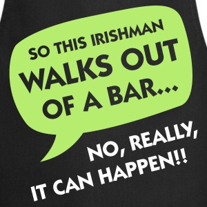 Black Irishman Walks Out of a Bar (2c)  Aprons - Cooking Apron