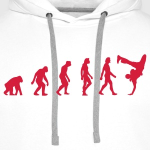 Blanc Breakdancer Evolution (1c) Sweatshirts - Sweat-shirt à capuche Premium pour hommes