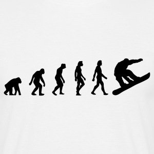 Wit Snowboarder Evolution (1c) T-shirts - Mannen T-shirt