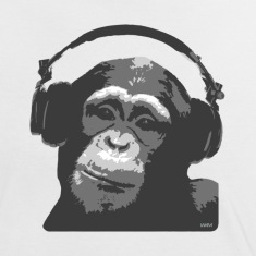 White/black DJ MONKEY by wam Women's T-Shirts