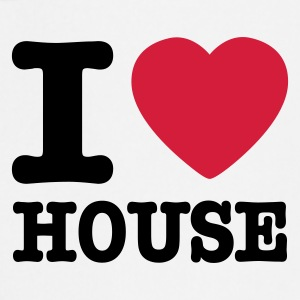 White I love house / I heart house  Aprons - Cooking Apron