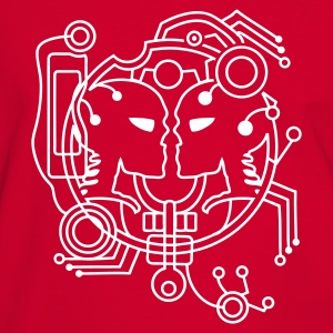 Red/white cyber love cyber Skull Men's T-Shirts - Men's Ringer Shirt