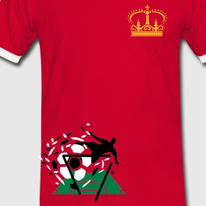 Red/white Crown with cross Men's T-Shirts - Men's Ringer Shirt