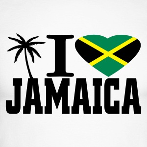 Blanc/noir i love jamaica T-shirts manches longues - T-shirt baseball manches longues Homme