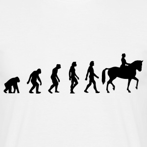 Wit Horse Riding Evolution 1 (1c) T-shirts - Mannen T-shirt