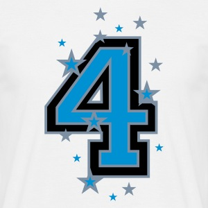 White The number 4 and Stars Men's T-Shirts - Men's T-Shirt