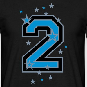 Black The number 2 and stars Men's T-Shirts - Men's T-Shirt