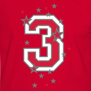 Red/white The number 3 and stars Men's T-Shirts - Men's Ringer Shirt