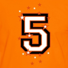 Orange/white The number 5 and stars Men's T-Shirts