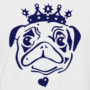 White/navy Pug with crown and heart pendant. Men's T-Shirts - Men's Baseball T-Shirt