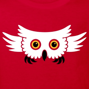 Red Fliegende Eule / flying owl (3c) Kids' Shirts - Kids' Organic T-shirt