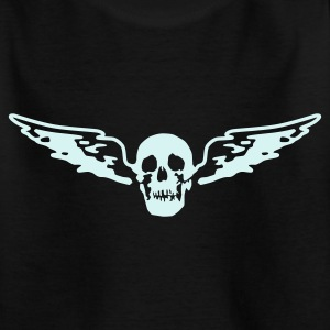 Black flying_skull_white_1c Kids' Shirts - Teenage T-shirt