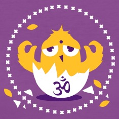 Purple zen meditation chick with Om sign Women's T-Shirts