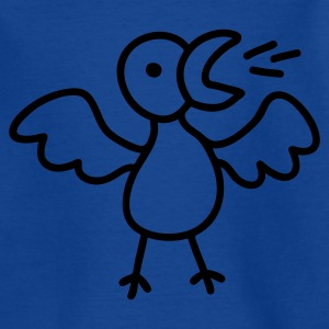 Royalblau Singender Vogel - Line Kinder T-Shirts - Teenager T-Shirt