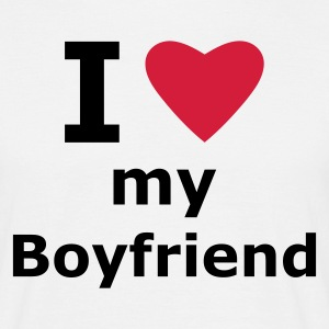 White I love my boyfriend Men's T-Shirts - Men's T-Shirt