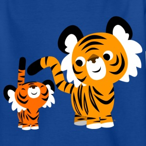 Royal blue Cute Cartoon Small and Big Tigers by Cheerful Madness!! Kids' Shirts - Teenage T-shirt