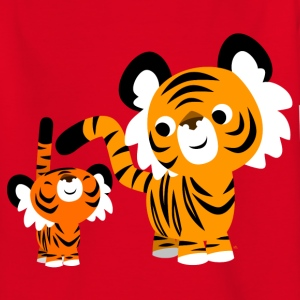Red Cute Cartoon Small and Big Tigers by Cheerful Madness!! Kids' Shirts - Teenage T-shirt