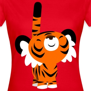 Red Cute Proud Cartoon Tiger by Cheerful Madness!! Women's T-Shirts - Women's T-Shirt