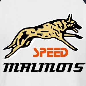 Blanc/rouge speed malinois T-shirts - T-shirt baseball manches courtes Homme