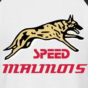 Blanc/noir speed malinois T-shirts - T-shirt baseball manches courtes Homme