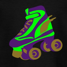 Black retro roller skate wings by patjila Kids' Shirts
