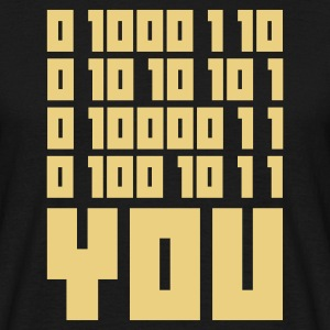 Nero FUCK YOU - Binary code T-shirt - Maglietta da uomo