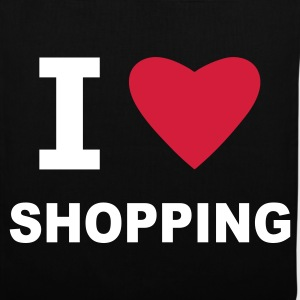 Black I Love Shopping Bags  - Tote Bag