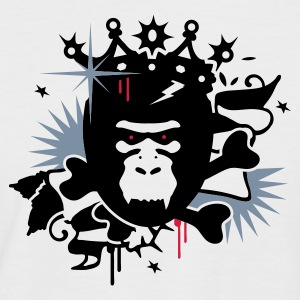 Blanc/marine King Kong -  gorille avec une couronne T-shirts - T-shirt baseball manches courtes Homme