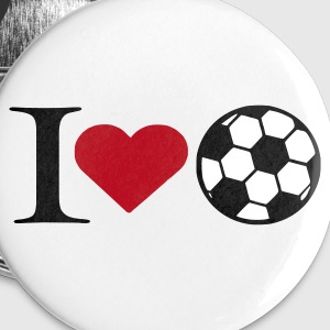 Weiß I love soccer Buttons / Anstecker - Buttons groß 56 mm