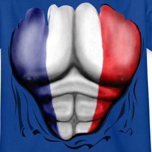 France Flag Ripped Muscles, six pack, chest t-shir - Teenage T-shirt
