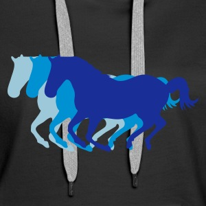 Black Three horses at a gallop - Horse riding - dressage horses riding horse race Hoodies & Sweatshirts - Women's Premium Hoodie