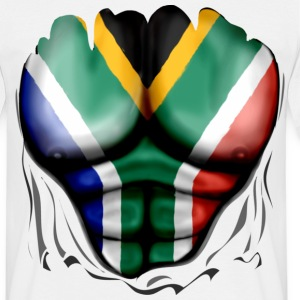 South Africa Flag Ripped Muscles, six pack, chest  - Men's T-Shirt