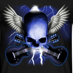 Schwarz skull_and_wings_and_guitars T-Shirts - Männer T-Shirt
