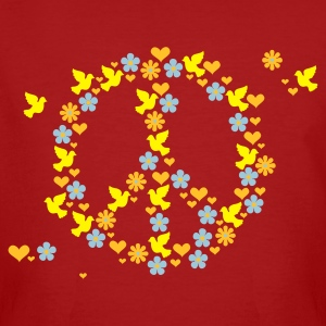 Dark red Blumen, Liebe  'n Frieden / flower love 'n peace (3c) Men's T-Shirts - Men's Organic T-shirt