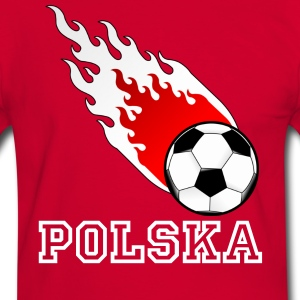 Rood/wit Vuurbal Voetbal Polen T-shirts - Mannen contrastshirt