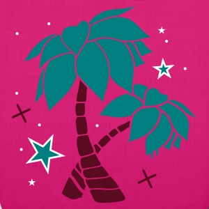 Magenta Two palm trees on the beach Bags  - EarthPositive Tote Bag
