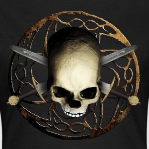 Schwarz skull_tribal_sword_b T-Shirts - Frauen T-Shirt