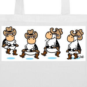 White Line Dancing Cows Bags  - Tote Bag