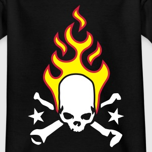 Schwarz fire_skull_bones_a_3c_kopie Kinder T-Shirts - Teenager T-Shirt