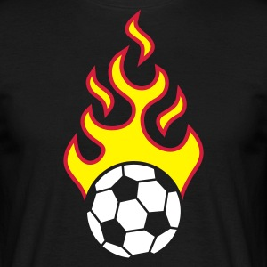fire_fussball_a_3c_black T-shirts - Mannen T-shirt