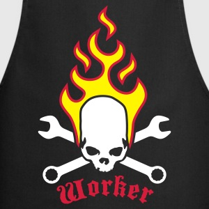 Black fire_skull_worker_b_3c  Aprons - Cooking Apron