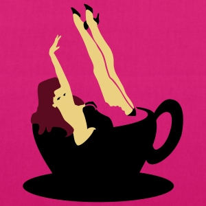 Magenta Kaffee Pinup / coffee girl (3c) Bags  - EarthPositive Tote Bag