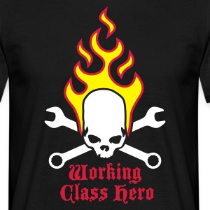 fire_skull_working_class_hero_b_3c Camisetas - Camiseta hombre