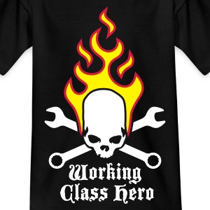 fire_skull_working_class_hero_a_3c Shirts - Teenage T-shirt