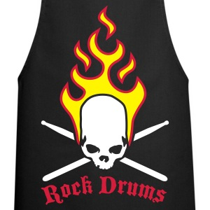Black fire_skull_drumsticks_d_3c  Aprons - Cooking Apron