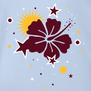 Red Hibiscus flower and stars Baby Bodysuits - Organic Short-sleeved Baby Bodysuit